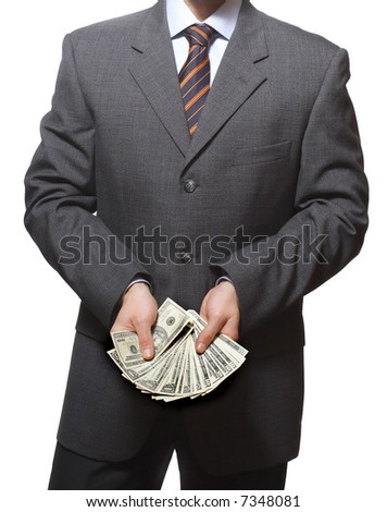 business man with dollars in hands