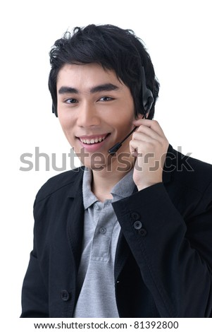 Business man with headset at call center office