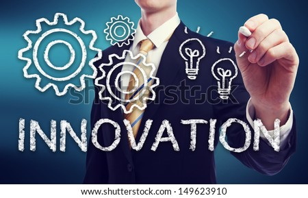 Business Man with Innovation Concept with Light Bulbs and Gears