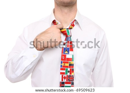 Business man with international global flag tie