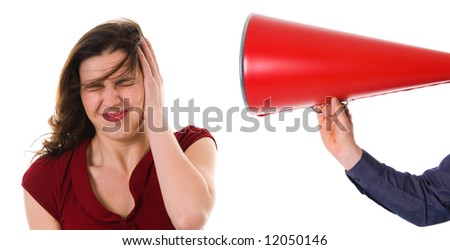business man with megaphone harassing colleague