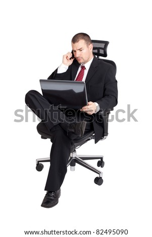 Business man with phone and laptop. Isolated on white background