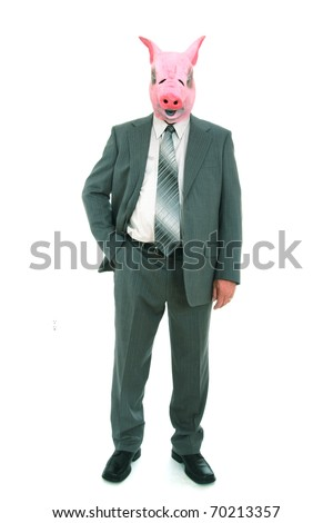 business man with piggy mask