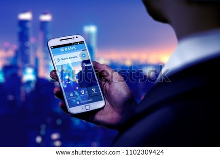 Business Man with smartphone and home banking app on the screen. Bank mobile on a cell phone, application design.