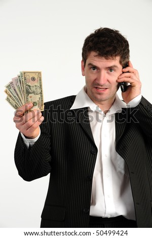 business-man with telephone and money
