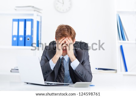 business man working problem, hold head hand cover face pain, ache, businessman tired, overworked sitting at the desk stress, at office