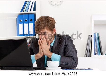 business man working problem using laptop looking at screen hold hands, cover face, tired stressed, depressed, businessman overworked sitting at the desk, at office, computer virus or error concept