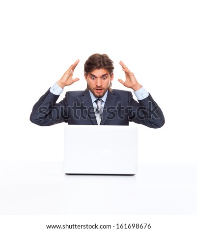 business man working problem using laptop looking at screen hold hands up, businessman sitting at the desk, isolated over white background, concept of computer virus or error