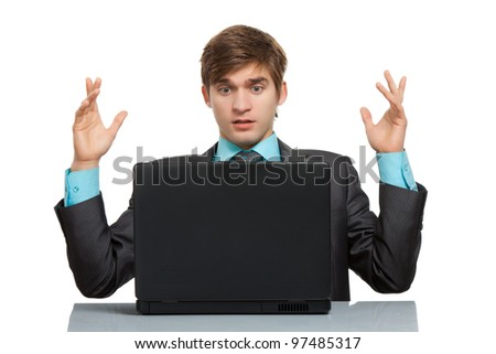 business man working problem using laptop looking at screen hold hands up, businessman sitting at the desk, isolated over white background, computer virus or error concept
