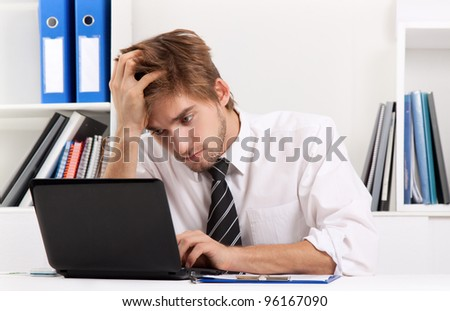 business man working problem using laptop looking at screen, hold head hand pain, ache, businessman tired, overworked sitting at the desk stress, at office, computer error concept