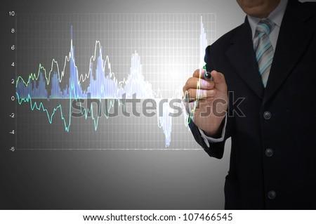 Business Man write graph