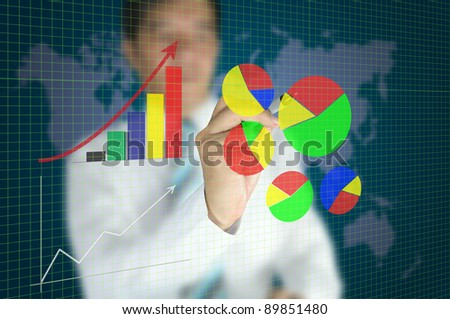 business man write graph on touch screen interface