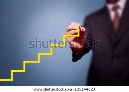 Business man write stair