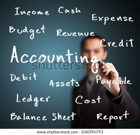 business man writing accounting concept
