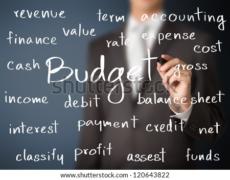 business man writing accounting concept of budget
