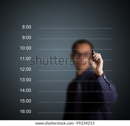 business man writing blank appointment schedule