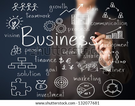 business man writing business concept