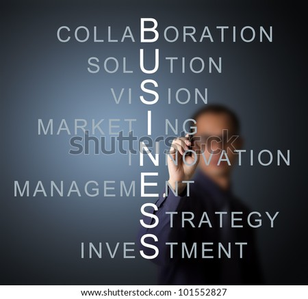 business man writing business concept by crossword component ( vision - strategy - management - investment - innovation collaboration - marketing - solution )