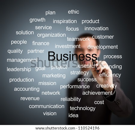 business man writing business management concept