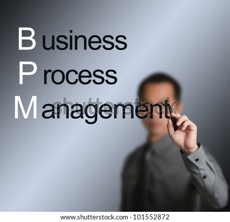 business man writing business process management concept ( BPM ) on whiteboard