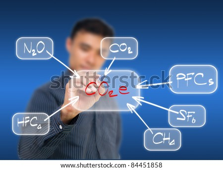 Business man writing CO2e effect diagram, can be used for go green concept
