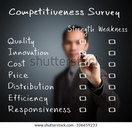 business man writing competitiveness survey form of business strength and weakness ( quality, innovation, cost, price, distribution, efficiency, responsiveness )