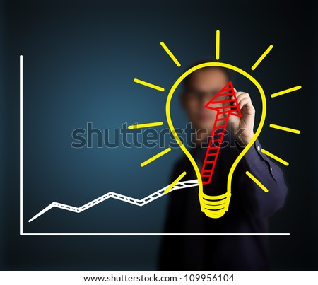 business man writing concept of good idea can make rapid growth and development