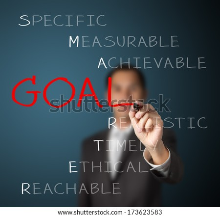 business man writing  concept of smarter goal setting