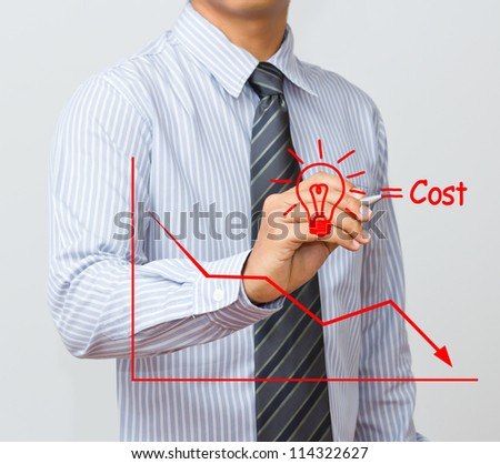 business man writing cost reduction concept