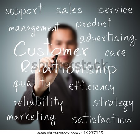 business man writing customer relationship concept