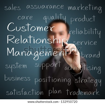 business man  writing customer relationship management (CRM) concept