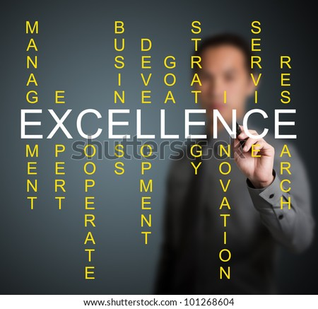 business man writing excellence concept by crossword of relate word such as expert, development, strategy, research etc.