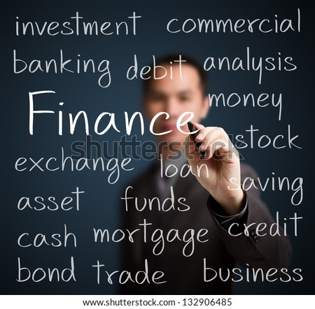 business man writing finance concept