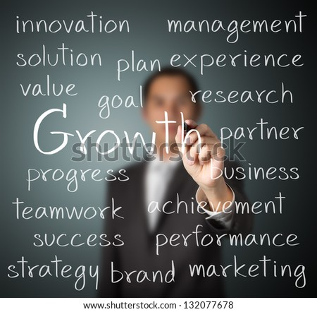 business man writing growth concept - stock photo