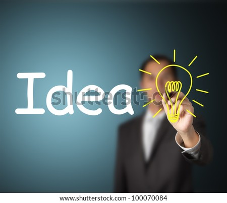 business man writing idea and light bulb