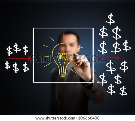 business man writing investment concept,  idea process make profit