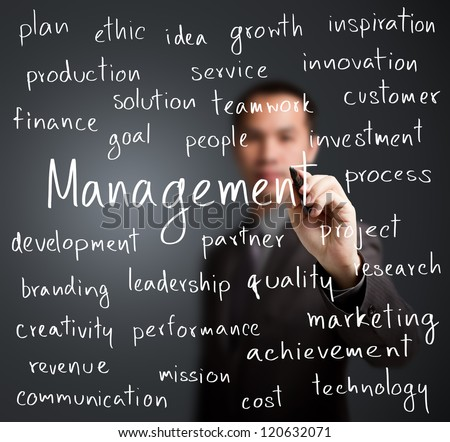 business man writing management concept - stock photo