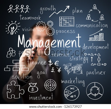 business man writing management scheme