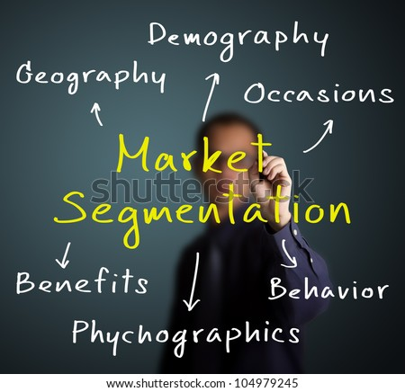 business man writing market segmentation method by various attribute