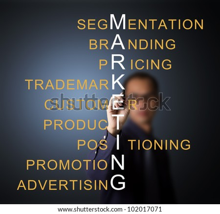 business man writing marketing concept by crossword component ( branding - pricing - positioning - product - promotion - advertising - trademark - segmentation - customer )