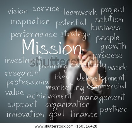 business man writing mission concept - stock photo