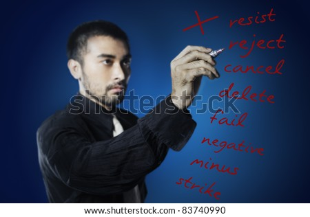 business man writing negative words