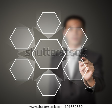 business man writing one core centralize from six component diagram in blank