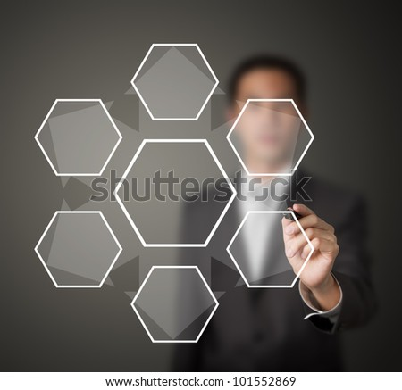 business man writing one core decentralize to six component diagram in blank