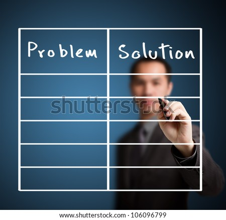 business man writing problem and solution list in blank