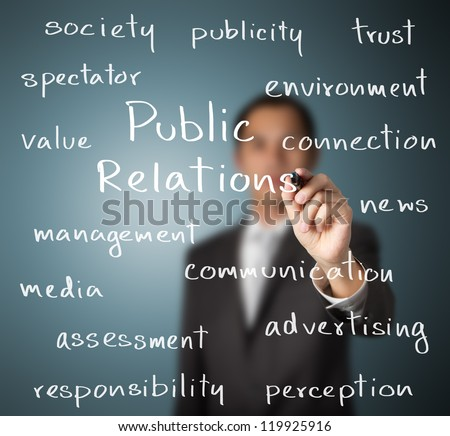 business man writing public relations concept
