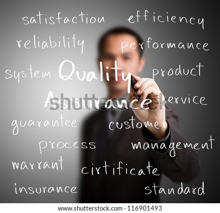 business man writing quality assurance concept