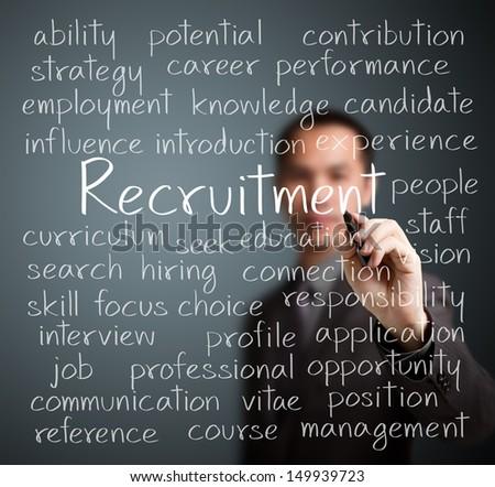 business man writing recruitment concept