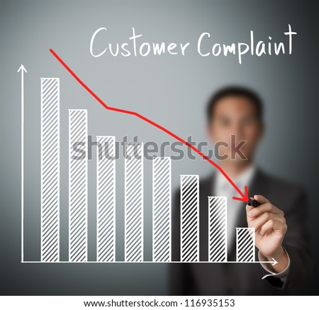 business man writing reduced customer complaint graph