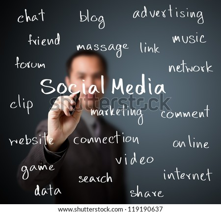 business man writing social media concept - stock photo